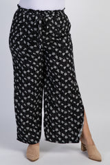 Black Floral Print Sash Tie Slit Plus Pants