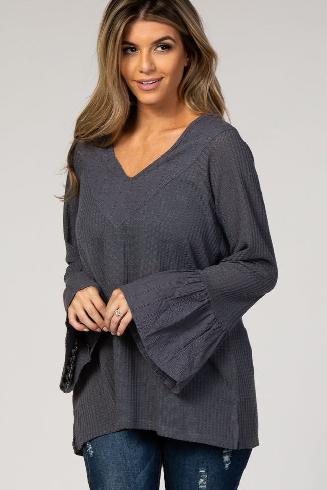 Charcoal Waffle Knit Eyelet Lace Maternity Top
