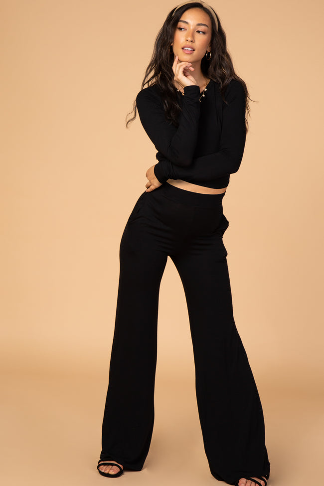 Waverleigh Black Crop Top Wide Leg Maternity Set