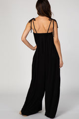 Black Shoulder Tie Cami Jumpsuit