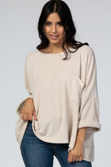 Cream Chenille Knit Dolman Maternity Top