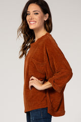 Rust Chenille Knit Dolman Top
