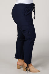 Navy Blue Side Tie Plus Cargo Pants