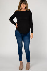 Black Rounded Hem Knit Maternity Top