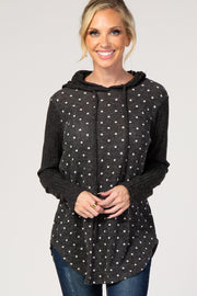 Charcoal Polka Dot Hooded Sweater