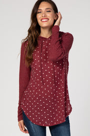 Burgundy Polka Dot Hooded Sweater