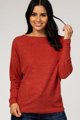 Rust Long Sleeve Waffle Knit Top