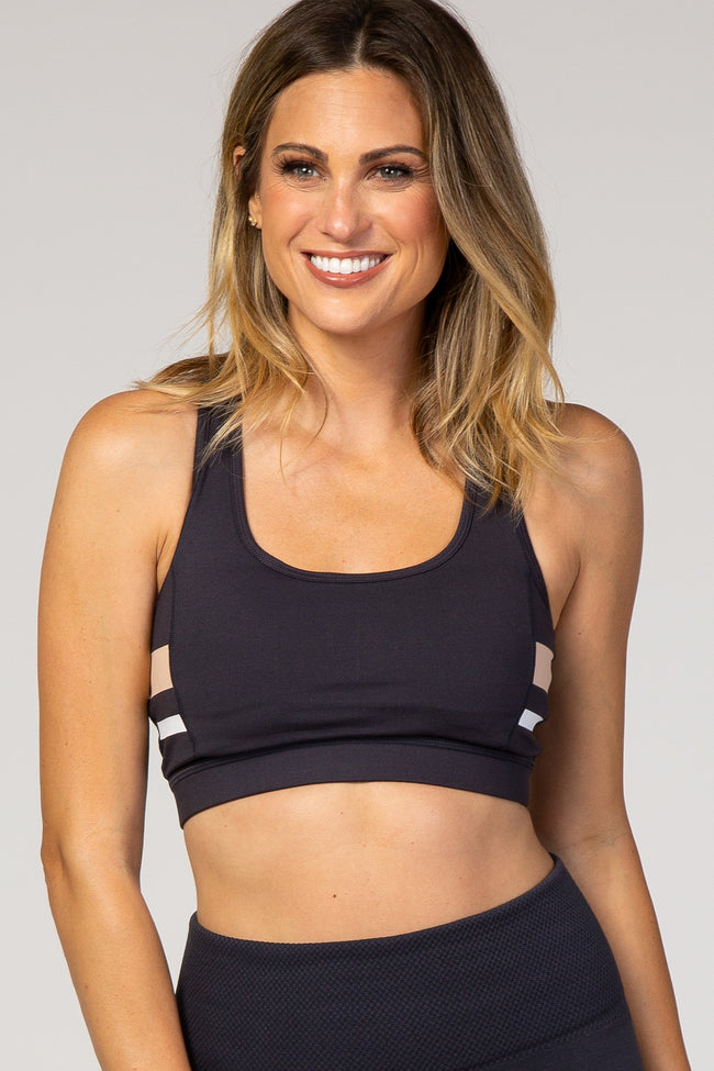 Navy Stripe Accent Racerback Maternity Sports Bra