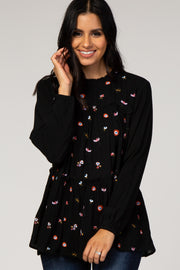 Black Embroidered Floral Tiered Top
