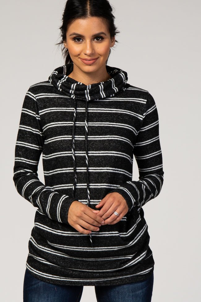 Black Striped Cowl Neck Top