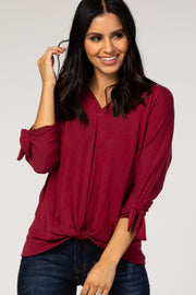 Burgundy 3/4 Sleeve Knotted Hem Top