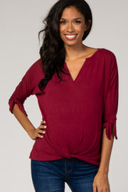 Burgundy 3/4 Sleeve Knotted Hem Maternity Top