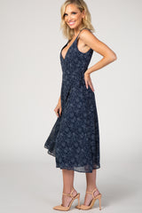 Navy Polka Dot Sleeveless Wrap Dress