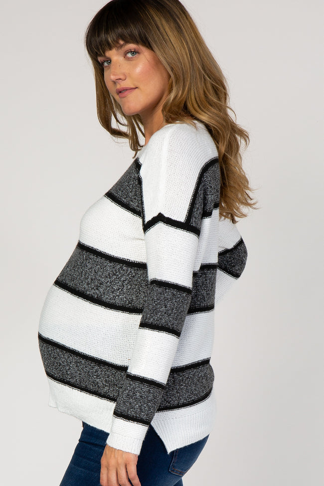 Ivory Striped Knit Maternity Sweater