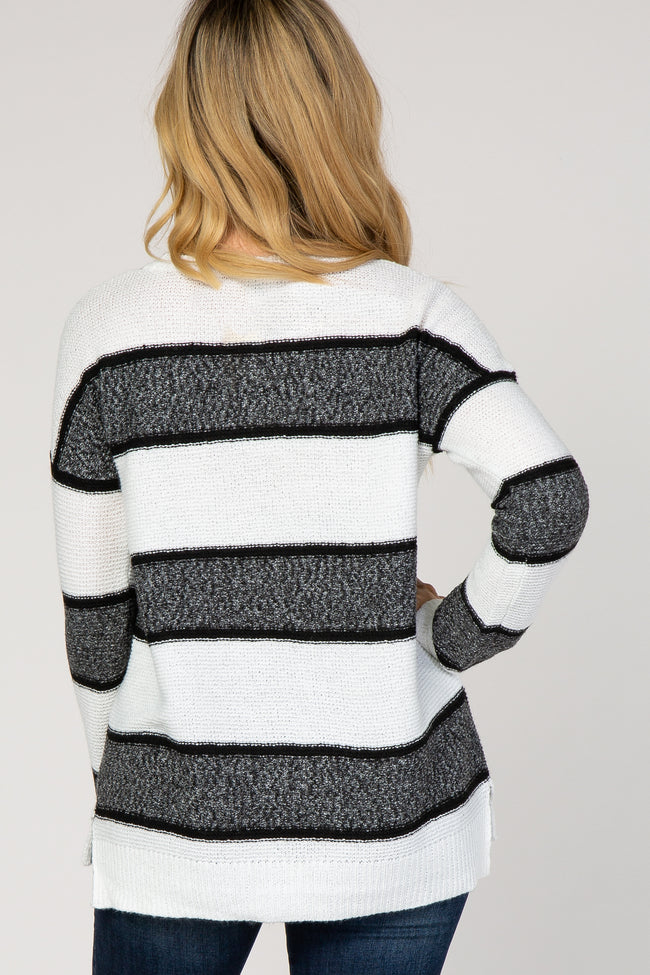 Ivory Striped Knit Sweater