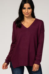 Purple V-Neck Maternity Sweater