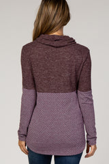Plum Knit Colorblock Funnel Neck Maternity Top