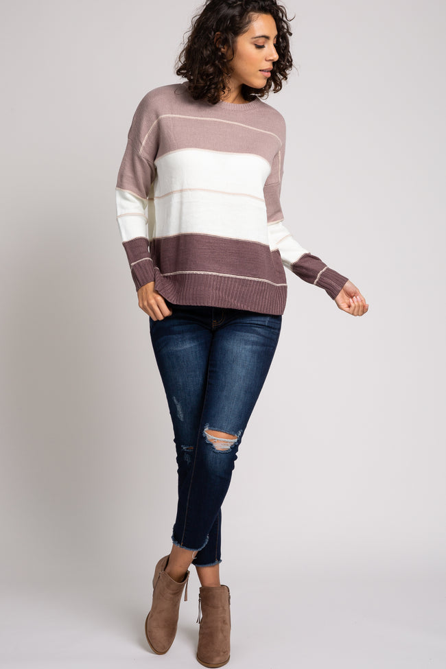 Taupe Striped Colorblock Sweater