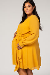 Yellow Chiffon Plus Maternity Wrap Dress
