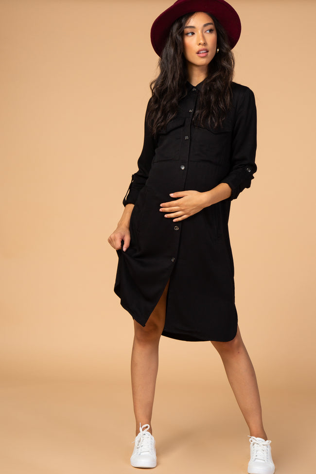 Waverleigh Black Button Down Collared Maternity Dress