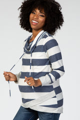 Navy Blue Striped Cowl Neck Wrap Front Hem Maternity Top
