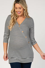 Black Striped Asymmetrical Front Button Maternity Top