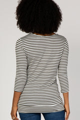 Olive Striped Asymmetrical Front Button Maternity Top