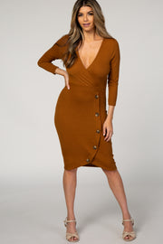 Camel Ribbed Wrap Button Front Dress