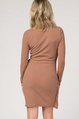 Camel Solid Ribbed Sash Tie Dress