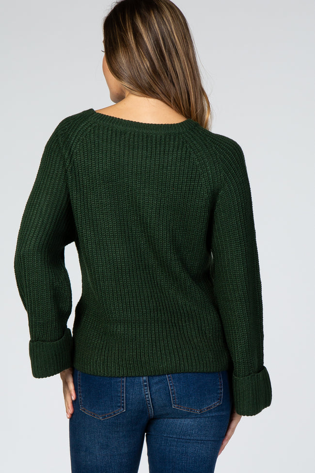 Forest Green Cuff Sleeve Chunky Maternity Sweater