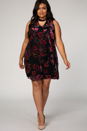 Black Velvet Floral Cutout Plus Shift Dress