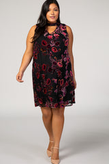 Black Velvet Floral Cutout Plus Maternity Shift Dress