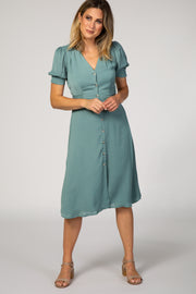 Mint Green Button Front Puff Sleeve Midi Dress