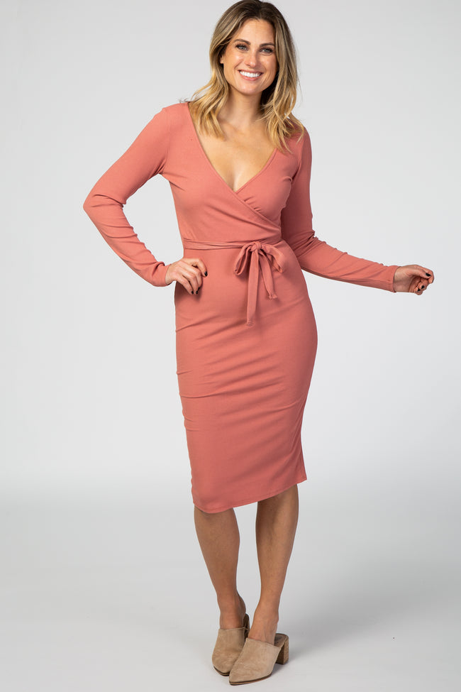 Rust Ribbed Knit Long Sleeve Wrap Dress