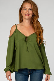 Olive Cold Shoulder Keyhole Front Top