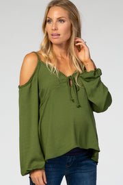 Olive Cold Shoulder Keyhole Front Maternity Top