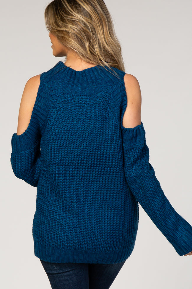 Royal Blue Cold Shoulder Solid Color Sweater