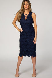 Navy Solid Crochet Overlay Crisscross Fitted Dress