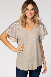Taupe Sequin Sleeve V-Neck Waffle Knit Top