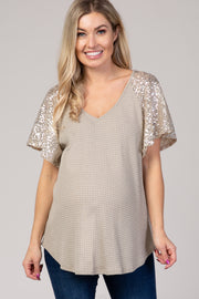 Taupe Sequin Sleeve V-Neck Waffle Knit Maternity Top