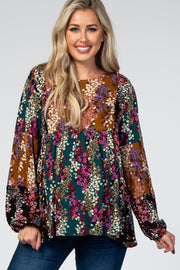 Multi-Color Floral Patchwork Long Sleeve Maternity Top