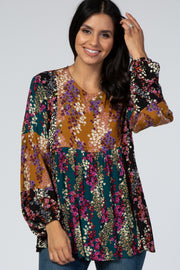 Multi-Color Floral Patchwork Long Sleeve Top
