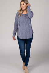 Navy Blue  Button Detail Rounded Hem Maternity Top