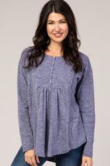 Navy Blue Long Sleeve Button Detail Rounded Hem Top
