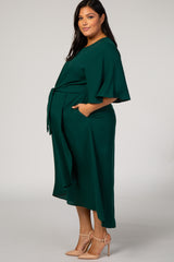 Forest Green Solid Short Sleeves Tie Front Maternity Plus Dress