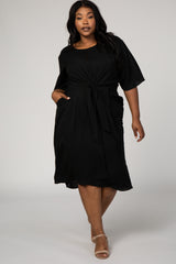 Black Solid Short Sleeves Tie Front Maternity Plus Dress