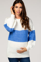 Blue Colorblock Balloon Sleeve Maternity Sweater