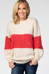 Taupe Colorblock Balloon Sleeve Maternity Sweater