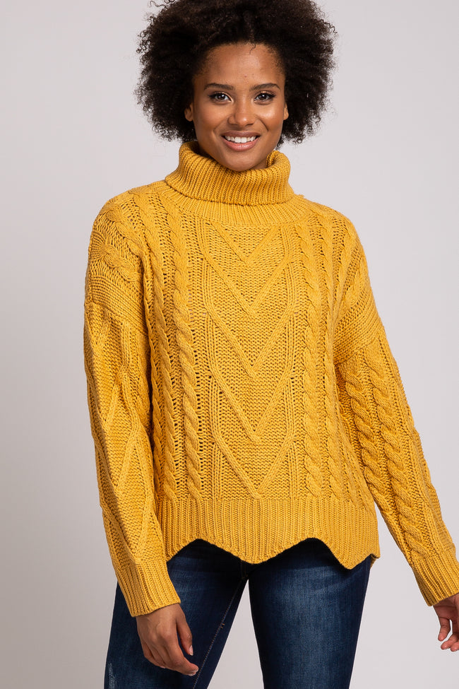 Yellow Scalloped Edge Turtleneck Cable Knit Maternity Sweater