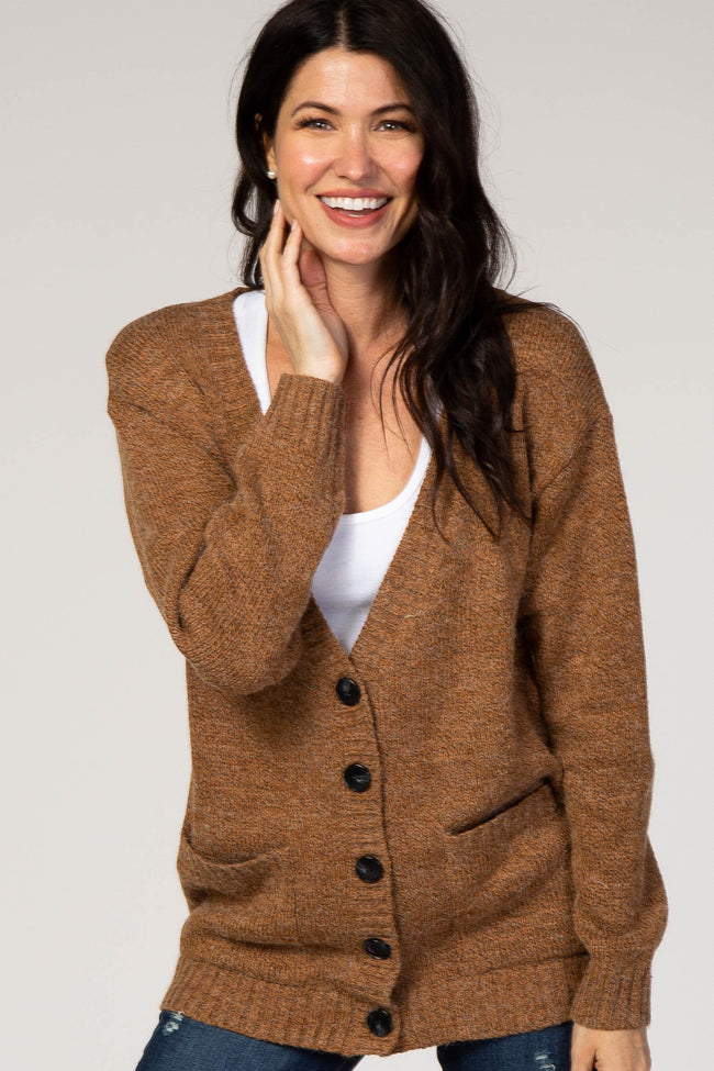 Camel Knit Button Front Cardigan
